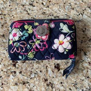 Vera Bradley RFID Turnlock Wallet Ribbons